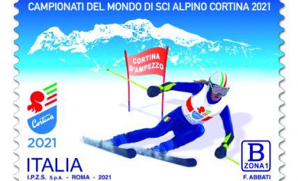 poste-italiane:-un-francobollo-dedicato-ai-campionati-del-mondo-di-sci-alpino-a-cortina-d'ampezzo